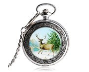 Yisuya Silver Hand-winding Mechanical Pocket Watch Chic Deer Pattern Pendant Watches with Nylon Bag