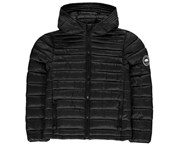 SoulCal Boys Micro Bubble Hooded Jacket Coat Top Junior - Black Zipped Fastening - Black