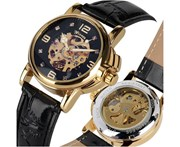 WINNER Elegant Women Hollow Automatic Mechanical Watches Black Leather Band Watch