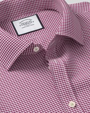 Charles Tywrhitt Classic Collar Gingham Cotton Business Shirt - Pink French Cuff