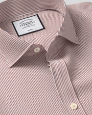 Charles Tywrhitt Cutaway Collar Non-Iron Dobby Cotton Business Shirt - Berry Single Cuff
