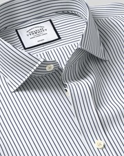 Charles Tywrhitt Cutaway Collar Non-Iron Dobby Stripe Cotton Business Shirt - Navy Single Cuff
