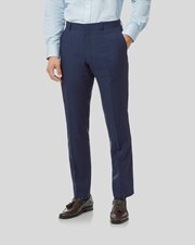 Charles Tywrhitt Mini Grid Suit Trousers - Mid Blue
