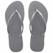 Havaianas Slim Metallic Thongs Silver Moon