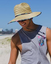 Lucid Oahu Straw Hat Natural/navy
