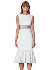 By Johnny WHITE CAGE PANEL GATHER MIDI DRESS