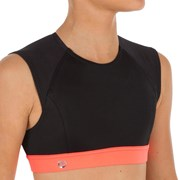 Olaian Bella Back Zip Crop Top Surfing Swimsuit Black
