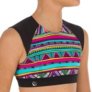 Olaian Bella Back Zip Crop Top Surfing Swimsuit Multi Colour