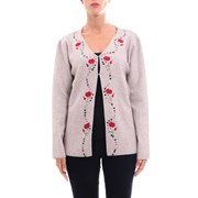 Cashmere Company Embroidered Wool Cardigan BROWN 031639