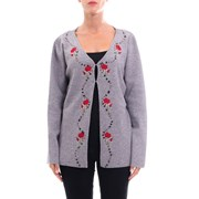 Cashmere Company Embroidered Wool Cardigan GREY 933335