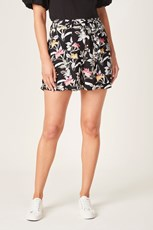 French Connection (Fcuk) BOTANICAL BELTED SHORT BLACK FLORAL