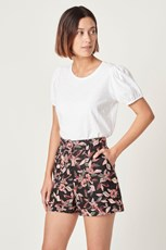 French Connection (Fcuk) FRENCH LINEN BELTED SHORT TROPICAL FLORAL
