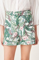 French Connection (Fcuk) LINEN BELTED SHORT TROPICAL FLORAL