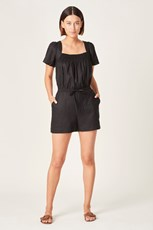 French Connection (Fcuk) LINEN SHIRRED PLAYSUIT BLACK
