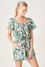 French Connection (Fcuk) LINEN SHIRRED PLAYSUIT TROPICAL FLORAL