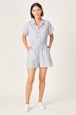 French Connection (Fcuk) LINEN STRIPE PLAYSUIT FRENCH NAVY/WHITE