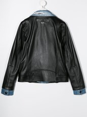 Philipp Plein denim-collar biker jacket - 14967193