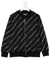 Neil Barrett Kids diagonal logo stripe bomber jacket - 15076613