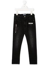 Moschino Kids distressed skinny jeans - 15587931