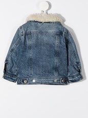 Diesel faux shearling collar denim jacket - 15469385