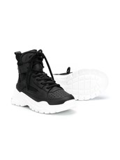 Emporio Armani Kids high-top leather sneakers - 15602908