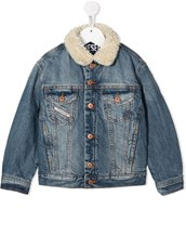 Diesel shearling collar denim jacket - 15469328