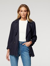 Forever New Annika Cropped Trench Jacket Deep Indigo