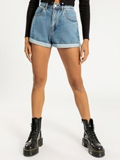 A Brand A High Relaxed Short in Blue Denim