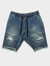 Henleys Blake Moto Shorts in Blue Denim
