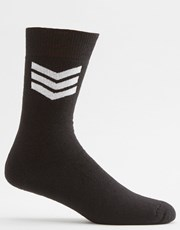Absent Chevron Socks Black