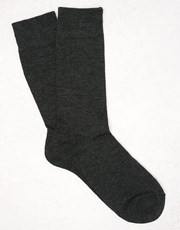 Kit Cotton Blend Dress Socks Char Marl