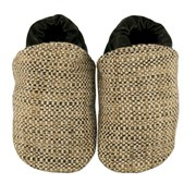 Cheeky Little Soles Beige tweed fabric baby shoes