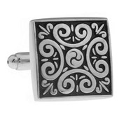 Cowan Brown Black and silver ornate cufflinks