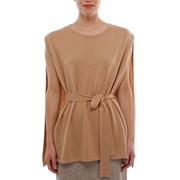 Oon Cashmere belted cape poncho in camel