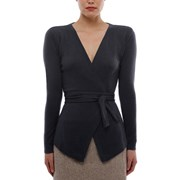 Oon Cashmere belted open cardi in charcoal grey