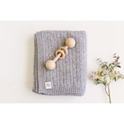 Heirloom Cashmere Cashmere cable knit baby blanket in ash