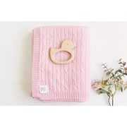 Heirloom Cashmere Cashmere cable knit baby blanket in blush