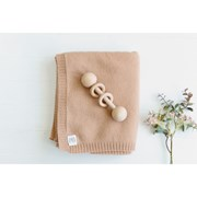 Heirloom Cashmere Cashmere plain knit baby blanket in cinnamon