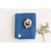Heirloom Cashmere Cashmere plain knit baby blanket in indigo