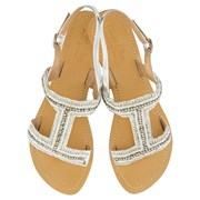 Annie Clare Emily leather sandals in white & silver
