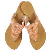 Annie Clare Gemma leather sandals in pink/orange