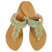 Annie Clare Georgie leather sandals in turquoise