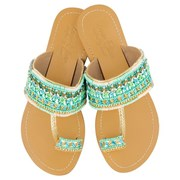 Annie Clare Girls' leather sandals in blue/green