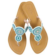 Annie Clare Juliet leather sandals in turquoise/white