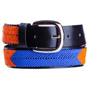 Annie Clare Leather beaded belt in blue/orange