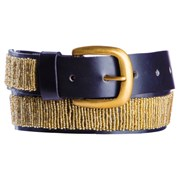 Annie Clare Leather beaded belt in gold