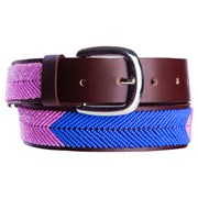 Annie Clare Leather beaded belt in pink/blue
