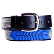 Annie Clare Leather beaded belt in silver/blue