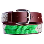 Annie Clare Leather beaded belt in silver/green