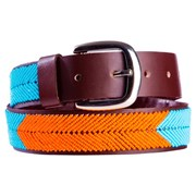 Annie Clare Leather beaded belt in turquoise/orange